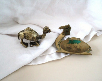 Two Brass Camel Figures. Camel Ashtray Made in Israel.