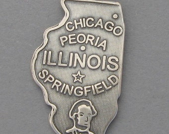 Sterling Silver .925 Charm Pendant ILLINOIS State Map SC612