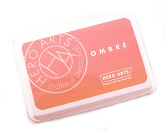 OMBRE Peach Ink Pad - dark to light peach ombre ink for scrapbooking & paper crafts - acid free, waterproof, permanent on most papers