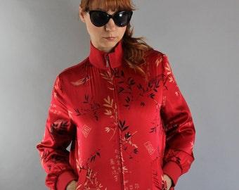 Vintage 90s Womens Red Silk Asian Print Track Street Jacket // Urban Hip Hop Jacket