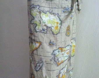 Ancient Map on Khaki Rayon Vintage LIZ WEAR Wrap Skirt M NOS