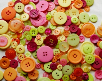 100 Button Mix, FIESTA  Mix, Lime Green, Orange, Yellow, Pink, Burgundy, Assorted sizes -  Grab Bag  (1341)