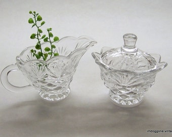 Godinger Pineapple Collection Creamer and Sugar Bowl, Crystal Sugar Bowl with Lid, Crystal Creamer