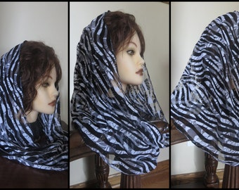 White- Black  or Blue Infinity Modest  lace Headcovering - Church or Chapel veil mantilla scarf NEW single loop