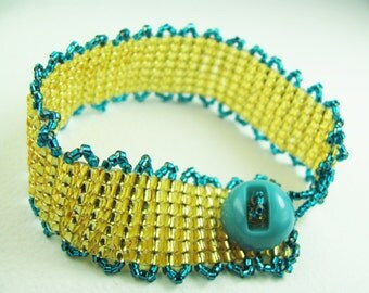 Beadwork Bracelet - Gold and Turquoise Blue with Vintage Button - Beaded Bracelet Square and Picot Stitches - SRAJD