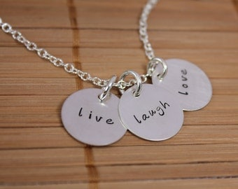 Live Laugh Love - Hand Stamped Three Charm Necklace in Sterling Silver
