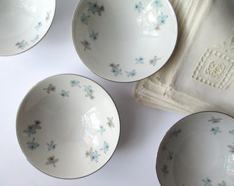 Vintage Cereal or Dessert Bowls Harmony House Blue Orchid Set of Four - Charming