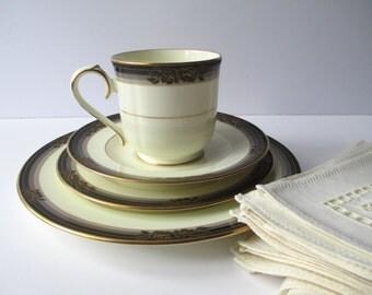 Vintage Noritake Bone China Spell Binder Teacup Plate Set of Four