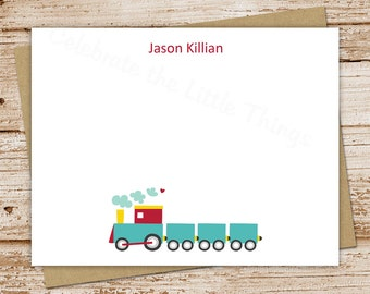PRINTABLE boys personalized train note cards . train notecards  . FLAT stationery . choo choo train stationary . baby shower . You Print