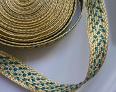 Moroccan gold metallic trim with emerald art silk pattern, caftan trim, medium, 5 metres