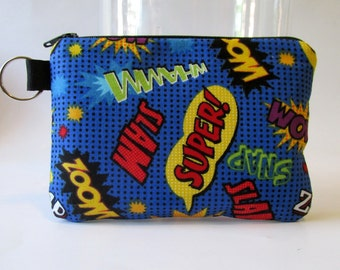 Handmade small pouch with zipper - key ring - comics words - bright colors - coin purse - makeup bag - credit cards keeper - ready to ship