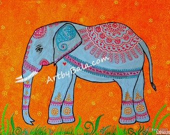 Elephant - Limited Edition Print of Henna Style Painting