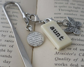 AUNT Bookmark Personalized with Mini Domino, silver-tone charm, dictionary glass gem charm Kristin Victoria Designs Aunt Gift, Booklover