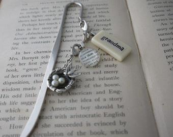 GRANDMA Bookmark Personalized with Mini Domino silver-tone charm dictionary glass gem charm Kristin Victoria Designs Personalized Gift