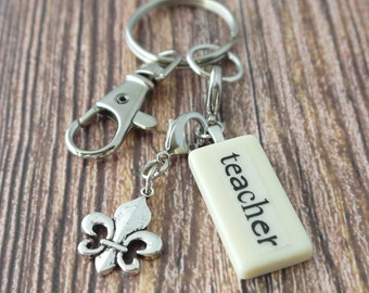 TEAHCER Key Chain Personalized Customized Domino Key Chain Gift for Teacher Gift by Kristin VIctoria Designs