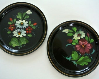 "2-TWO-Vintage ""Toleware"" Tin Trays-Hand-Painted-Flowers-Pennsylvania Dutch"