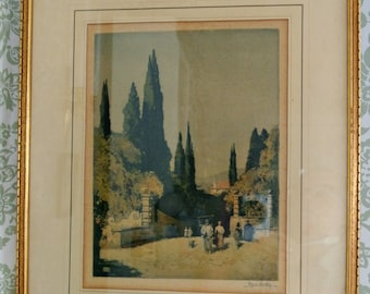 Vintage Italian Scene Print-Framed Under Glass and Signed by Artist