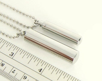 METAL TUBE Pendant Necklace  (pill/case/box/vials/screw/cap/ashes/pet/cremation/jewelry/urn/miniature/tubes/bottles/empty/container/holder)