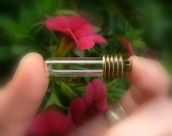 LARGE TUBES bronze cap (vials/pendants/glass/charms/bottles/empty/clear/renaissance/fair/antique/medieval/8mm/caps/miniature/small/hanging)