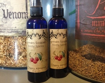 Cherry Almond Scented 4oz Body Spray Tart and Tangy Body Spritz Fragrance Hair Conditioner Spray Perfume Scented Body Mist