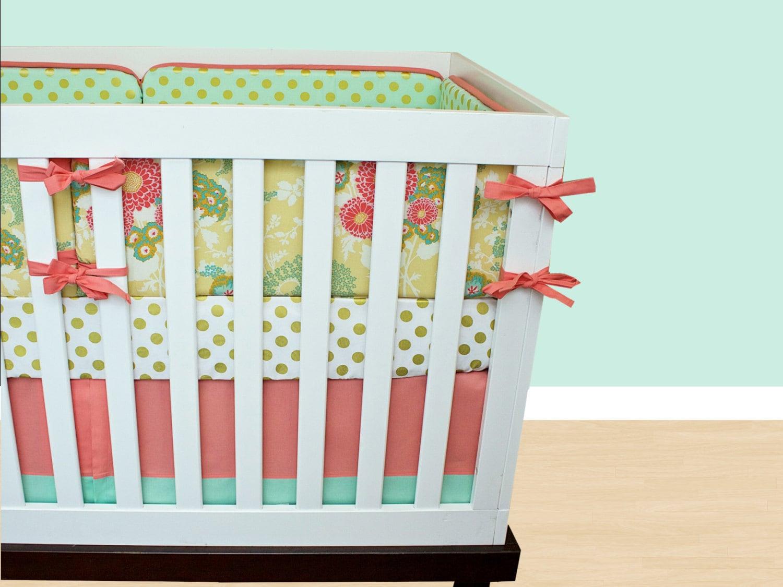 Vintage Floral Crib Bedding Girl Nursery Crib Set Mint Coral