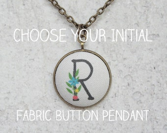 Choose Your Initial Fabric Button Pendant Necklace