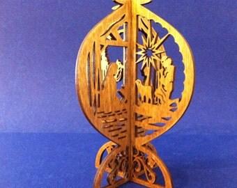 3D Standing Nativity Scene - Golden Oak