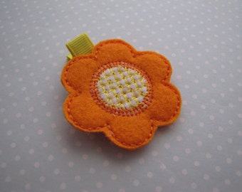 Vivid Orange Blossom . clippie . girls hair accessory . felt applique