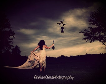 Fine Art Photograph, Photography, Surreal, Portrait, Woman, Key, Keyhole, Birds, Whimsical, Art, Fine Art, Run, dark, print, photo