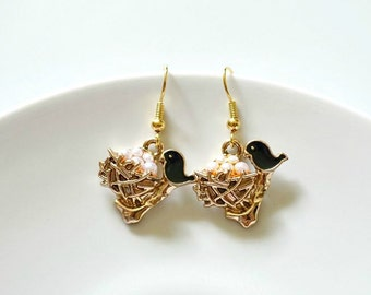 Rose Gold Bird Nest With Tiny Pearl Eggs And Black Bird Earrings. Rose Gold Dangle Earrings. Bird Jewelry. Bird Nest Jewelry