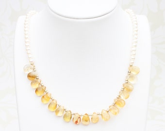 Classic citrine and pearl necklace