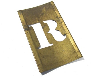 "Brass Stencil Letter R VINTAGE 1"" Letter R Scrapbooking Altered Art Assemblage Mixed Media Collage Supplies Brass Stencil Letter R (L29)"