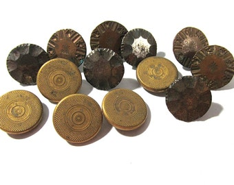 Victorian Gilt and Steel Buttons Assorted Thirteen (13) ANTIQUE Buttons Brass and Steel Buttons Vintage Jewelry Sewing Supplies (G70)