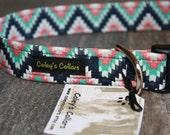 """Aztec Dog Collar """"The Aztec in Navy"""" Custom Dog Collar"""