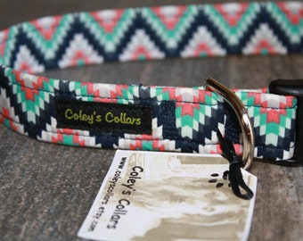 "Aztec Dog Collar ""The Aztec in Navy"" Custom Dog Collar"