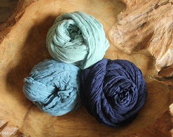 Three Cheesecloth Wraps, Blue Cheese Cloth, Navy and Turquoise Cheese Cloth, Cheese Cloth, Photo Prop, Newborn Props, Boy Props, Vintage