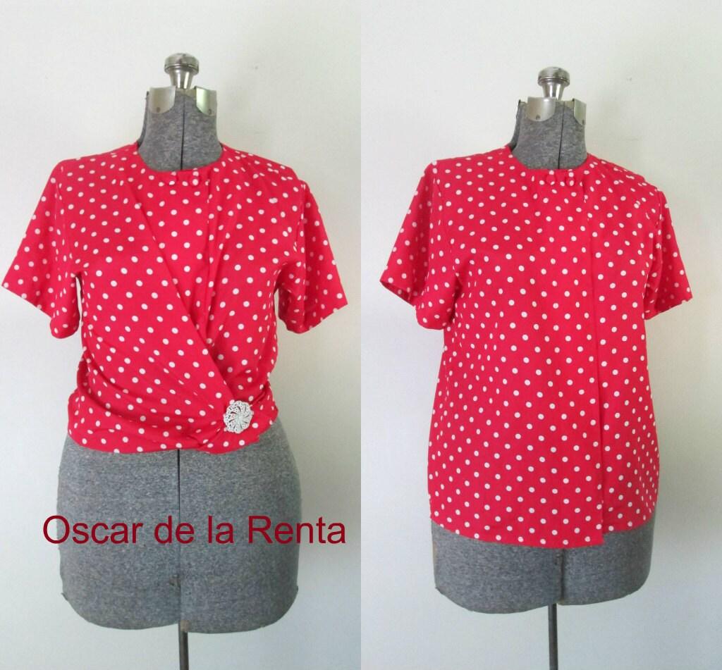 Red white polka dot blouse vintage oscar de la renta for White red polka dot shirt