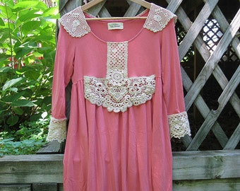Upcycled top / dress, Babydoll tunic top / dress , Free People style small-medium terra cotta knit, eco chic fashion, hippie bohemian style