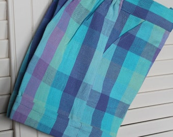 Girls plaid shorts, Kids Easter Clothes, vintage kids clothes, size 5, pastel girl shorts