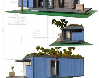 Little BLUE Shipping Container House, A Cut & Assemble Paper Model Kit