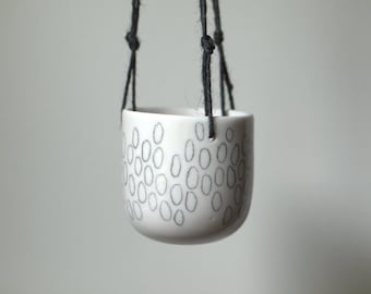 Hanging planter with hand-drawn pattern.  Porcelain planter. Handmade ceramics.  Wheel thrown.