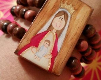virgen de coromoto wood bead bracelet