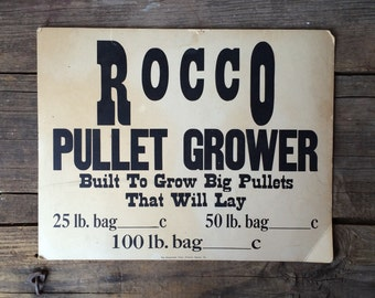 Vintage Sign Rocco Pullet Grower Chicken Farming