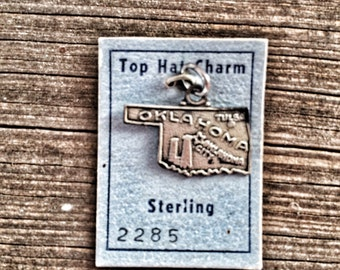 Sterling Silver Oklahoma State Charm Tiny Pendant