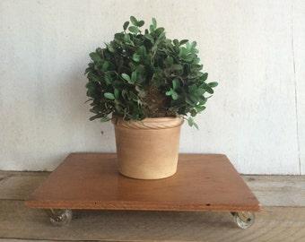 Vintage Wooden Plant Stand on Castors