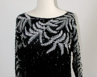 Sequined and Beaded Crop Top with Dolman Sleeves FITS MOST SIZES