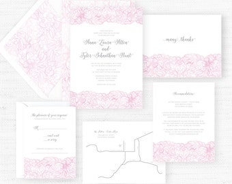 The Anne Collection | Sample Wedding Invitation | Hand-Painted Watercolor Wedding Invitations
