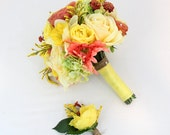 Wedding Bride Bouquet- Yellow, Coral Rose, Daffodil, Coral Gerbera Bouquet, Grooms Boutonniere, Spring Wedding, Country Chic, Twine Wrapped