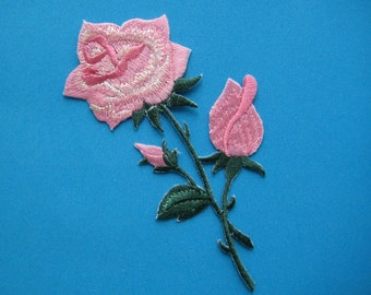 SALE~ Iron-On embroidered Patch Pink Roses 4.5 inch