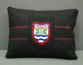 Preppy Accent Pillow - Hand-made Pillow using an Original 1950's English School Patch
